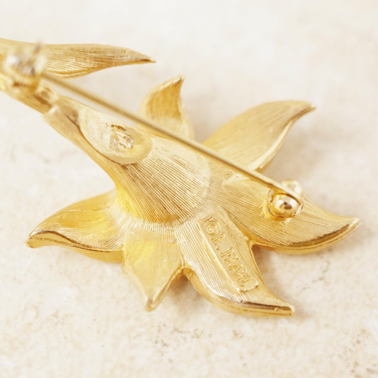 Vintage Gilded Lily Flower Figural Brooch with Crystals by Erwin Pearl, 1990s For Sale 4