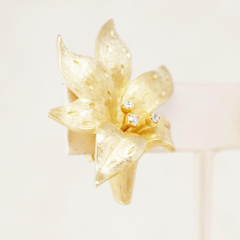 Vintage Gilded Lily Flower Figural Earrings With Crystals by Erwin Pearl, 1990s For Sale 7
