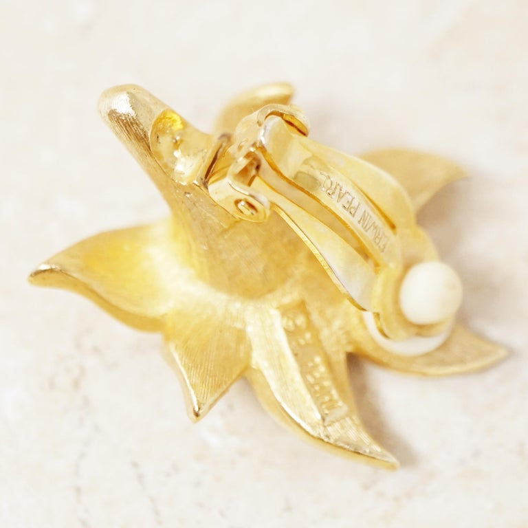 Vintage Gilded Lily Flower Figural Earrings With Crystals by Erwin Pearl, 1990s For Sale 8