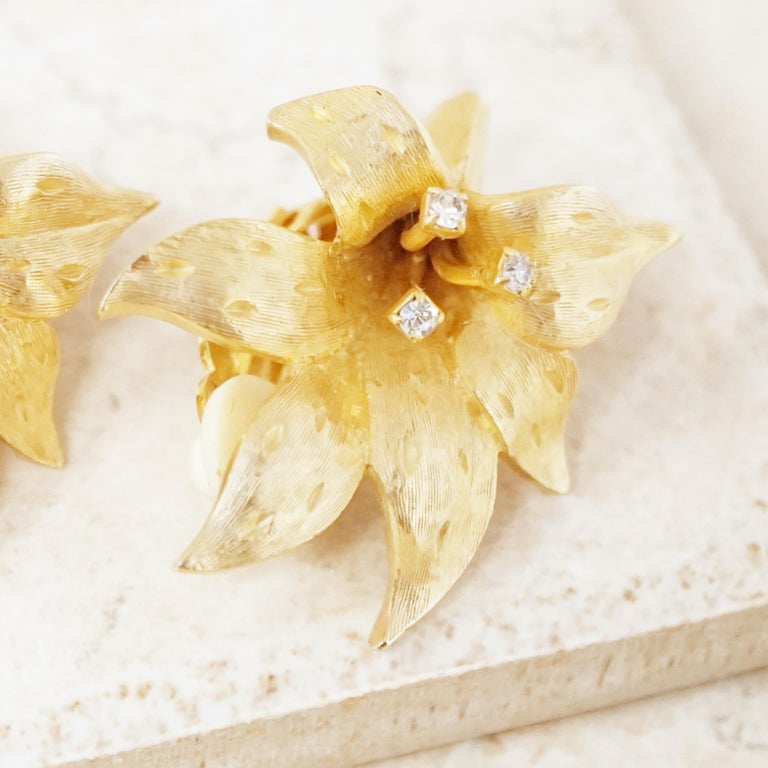 Women's Vintage Gilded Lily Flower Figural Earrings With Crystals by Erwin Pearl, 1990s For Sale