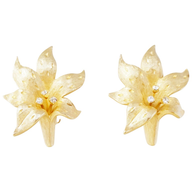 Vintage Gilded Lily Flower Figural Earrings With Crystals by Erwin Pearl, 1990s For Sale