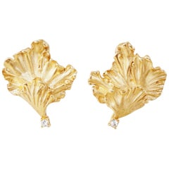 Vintage Gilded Lily Pad Earrings with Crystal Rhinestones by Erwin Pearl, 1990s