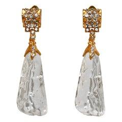 Vintage Gilded Metal and Acrylic Drop Earrings
