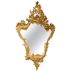 Vintage Gilded Mirror, Rich Carved Frame, Art Nouveau, 20th Century, Italy