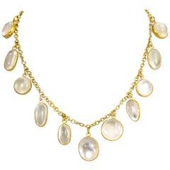 Vintage Gilded Moonstone Necklace
