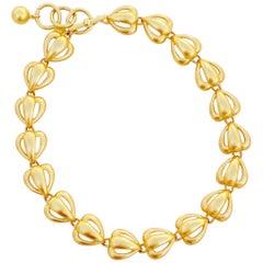 Vintage Gilded Openwork Heart Link Necklace By Anne Klein, 1980s