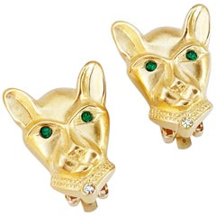 Vintage Gilded Panther Figural Earrings By Jackie Collins, 1980s