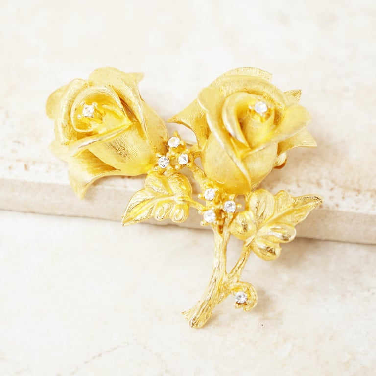 Modern Vintage Gilded Rose Duo Brooch with Crystal Rhinestones by Erwin Pearl, 1990s