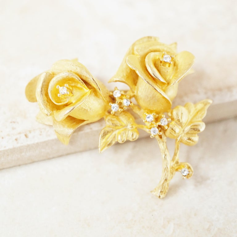 Women's Vintage Gilded Rose Duo Brooch with Crystal Rhinestones by Erwin Pearl, 1990s