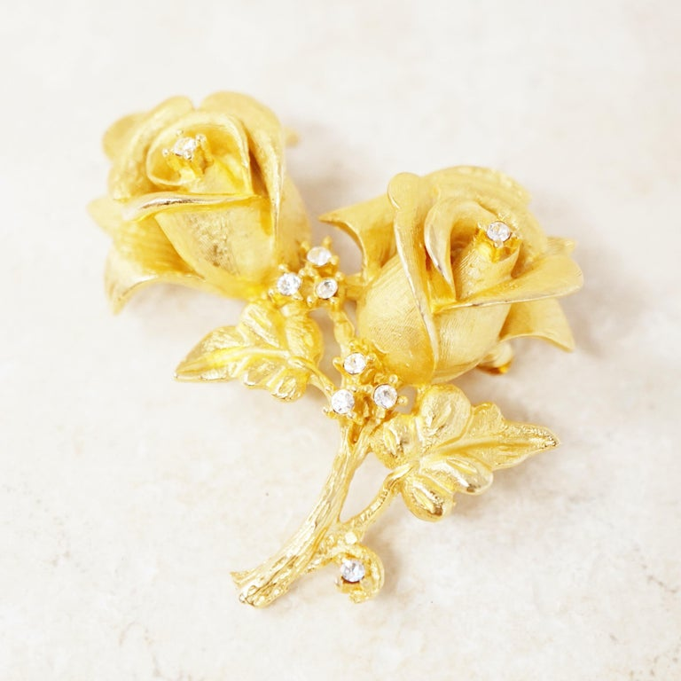Vintage Gilded Rose Duo Brooch with Crystal Rhinestones by Erwin Pearl, 1990s 1