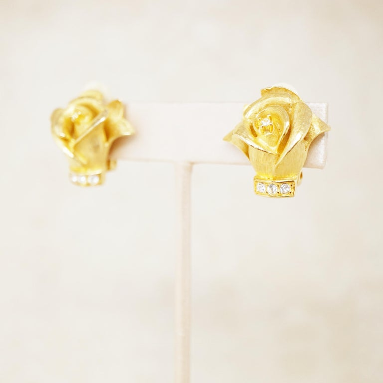 Vintage Gilded Rosebud Figural Earrings with Crystals by Erwin Pearl, 1990s 1
