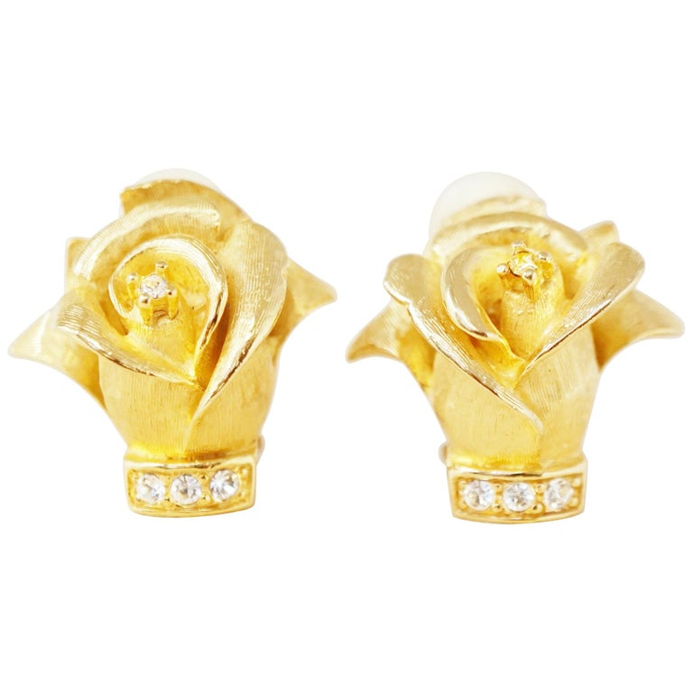 Vintage Gilded Rosebud Figural Earrings with Crystals by Erwin Pearl, 1990s