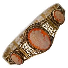 Vintage Gilded Silver Filgree Shell Cameo Bracelet