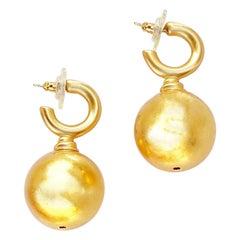 Vintage Gilded Sphere Drop Hoop Earrings By Anne Klein, 1980s