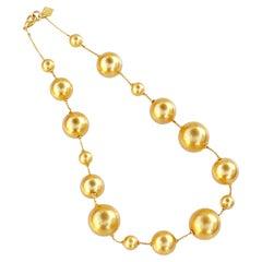 Vintage Gilded Spheres Statement Necklace By Anne Klein, 1980s