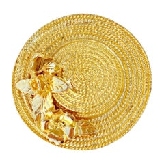 Vintage Gilded Straw Hat With Flowers Figural Brooch, 1960s