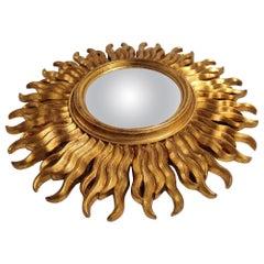 Vintage Gilded wooden Sunburst Mirror, 1960s