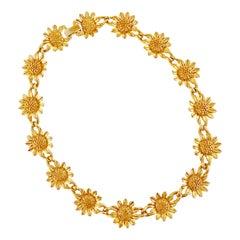 Vintage Gilded Sunflower Link Choker Necklace, 1960s