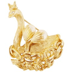Vintage Gilded Swan Princess Figural Brooch by Erwin Pearl, 1990s