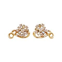 Vintage Gilded Swirl And Crystal Baguette Flower Earrings, 1950s