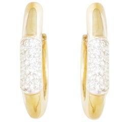 Vintage Gilded Tubular Teardrop Hoop Earrings w Crystal Pavé by Panetta, 1980s