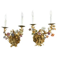 Vintage Gilded Wall Sconces with Hand Painted Porcelain Flowers