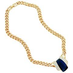 Vintage Gilt & Black Enamel Art Deco Style Curb Chain Necklace By Monet, 1980s