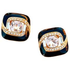 Vintage Gilt & Black Enamel Crystal Statement Earrings by Trifari, 1980s