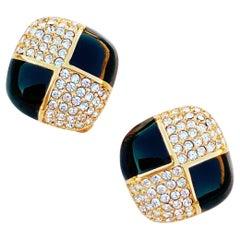 Vintage Gilt, Black Enamel & Swarovski Crystal Pavé Earrings By Swarovski, 1980s
