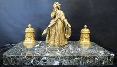 Vintage Gilt Bronze and Marble Inkwell