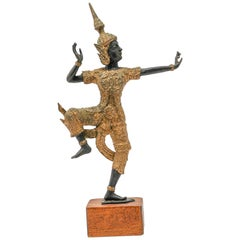 Vintage Gilt Bronze Thai Figurine of Prince Rama