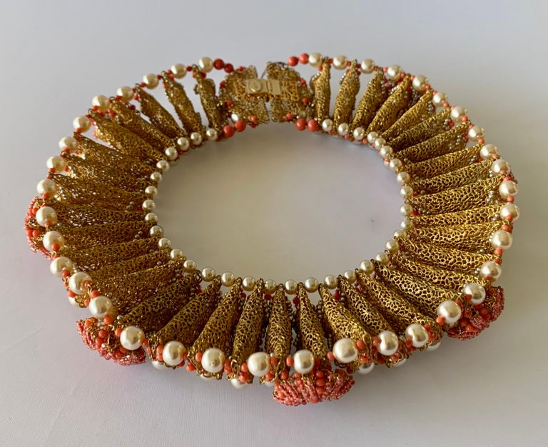 Vintage Gilt Coral and Pearl Beaded Statement Necklace by de Lillo  For Sale 5