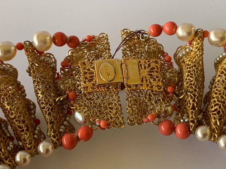 Vintage Gilt Coral and Pearl Beaded Statement Necklace by de Lillo  For Sale 6