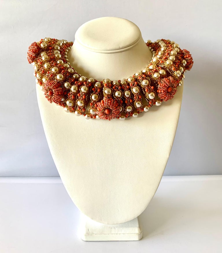 Contemporary Vintage Gilt Coral and Pearl Beaded Statement Necklace by de Lillo  For Sale