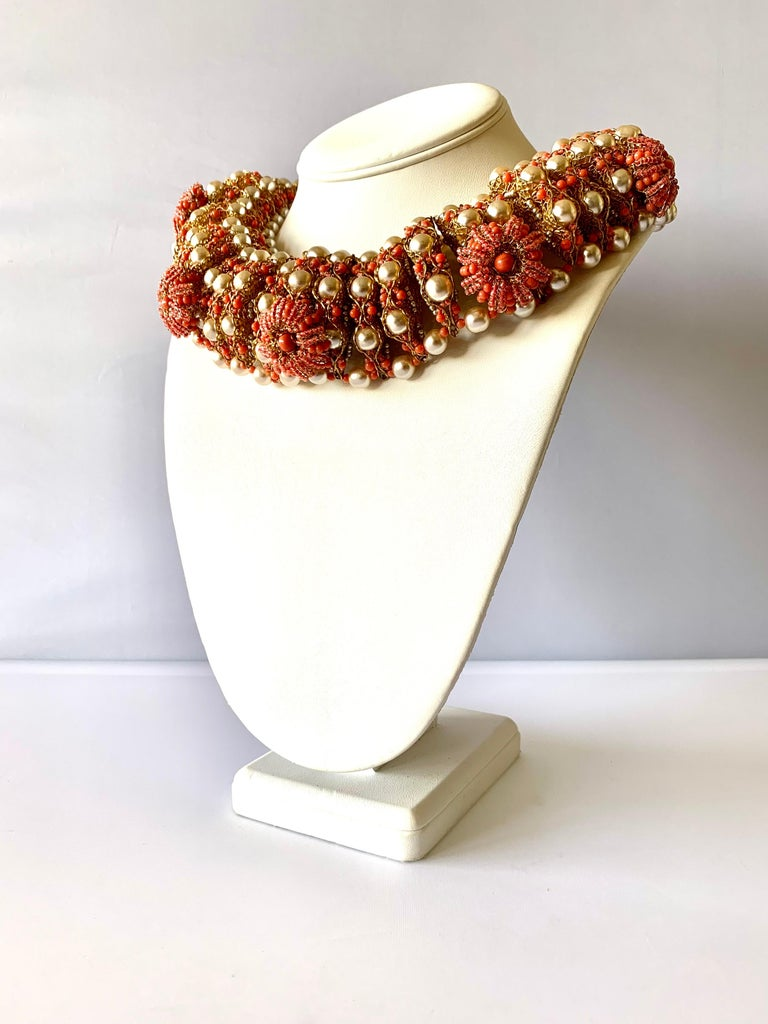 Vintage Gilt Coral and Pearl Beaded Statement Necklace by de Lillo  In Excellent Condition For Sale In Palm Springs, CA
