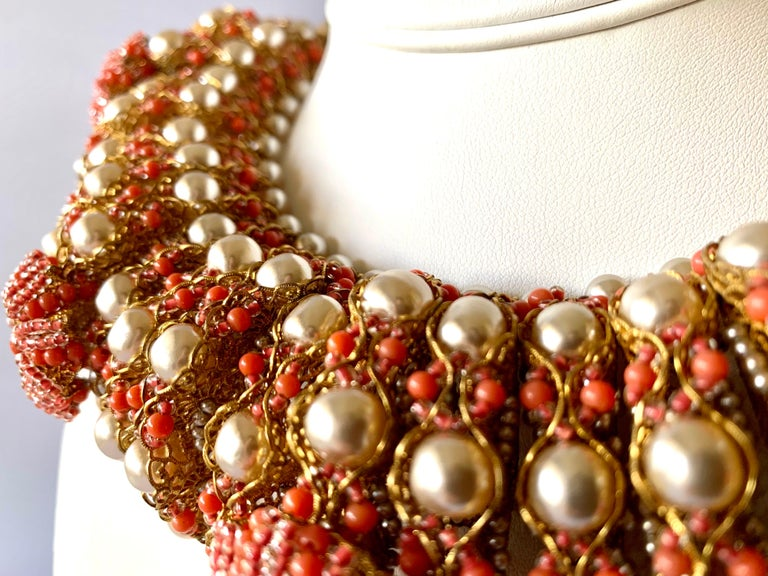 Women's Vintage Gilt Coral and Pearl Beaded Statement Necklace by de Lillo  For Sale