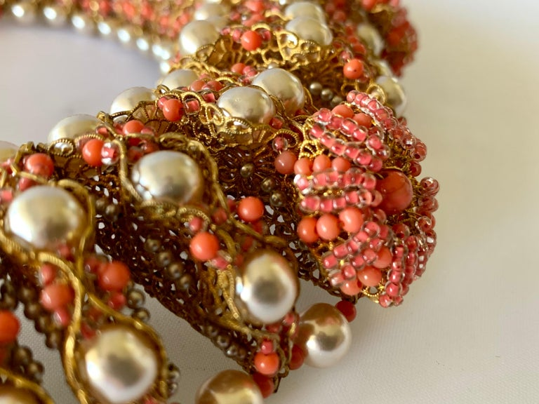 Vintage Gilt Coral and Pearl Beaded Statement Necklace by de Lillo  For Sale 1