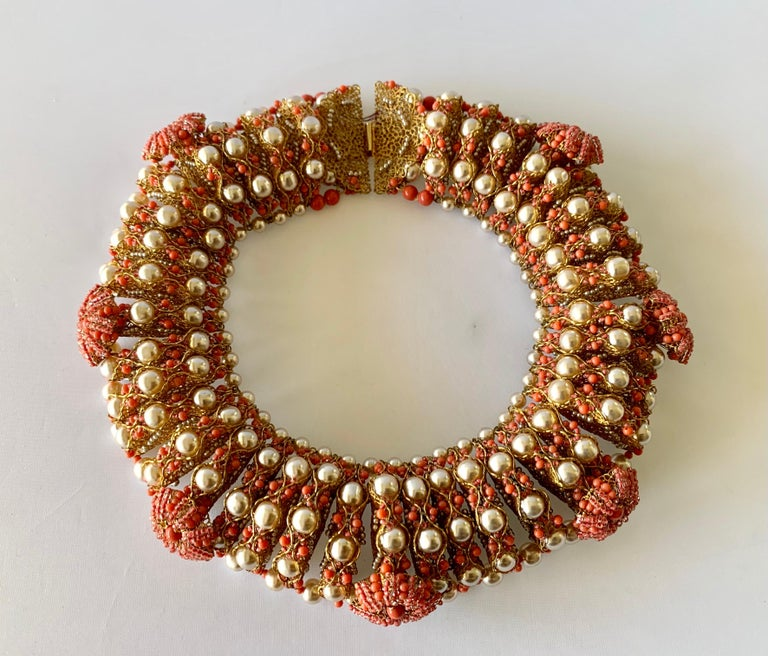 Vintage Gilt Coral and Pearl Beaded Statement Necklace by de Lillo  For Sale 2