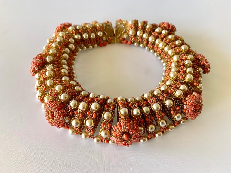 Vintage Gilt Coral and Pearl Beaded Statement Necklace by de Lillo  For Sale 3