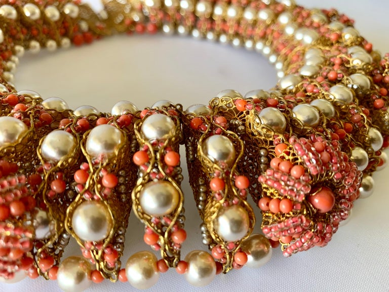 Vintage Gilt Coral and Pearl Beaded Statement Necklace by de Lillo  For Sale 4