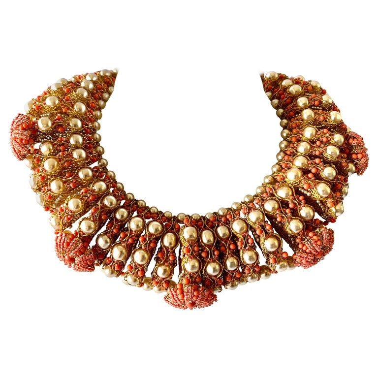 Vintage Gilt Coral and Pearl Beaded Statement Necklace by de Lillo  For Sale
