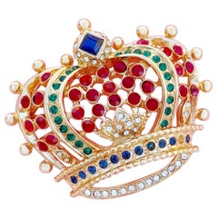 Vintage Gilt & Crystal Crown Figural Brooch By Kenneth Jay Lane, 1990s