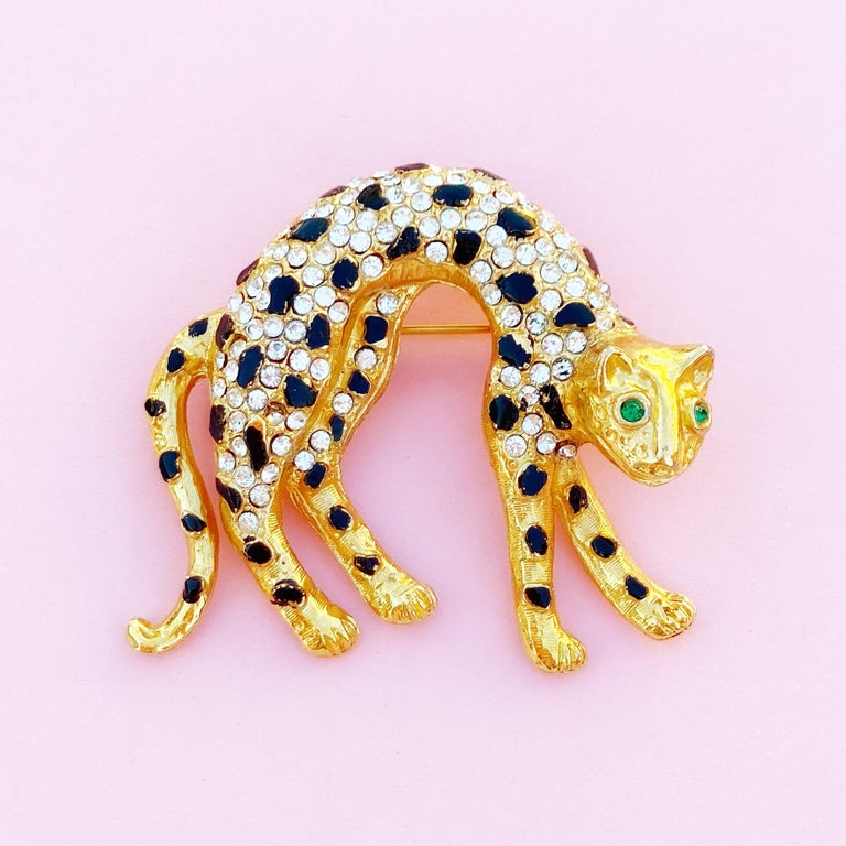 Modern Vintage Gilt & Crystal Rhinestone Panther Figural Brooch, 1980s For Sale