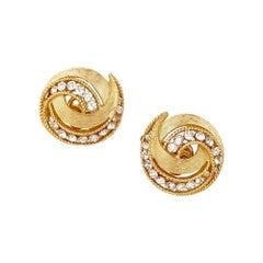 Vintage Gilt & Crystal Rhinestone Textured Swirl Earrings By Crown Trifari, 1963