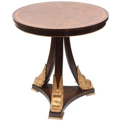 Vintage Gilt Dolphin Mahogany Table, Signed Maitland-Smith, Round Nicely Sized
