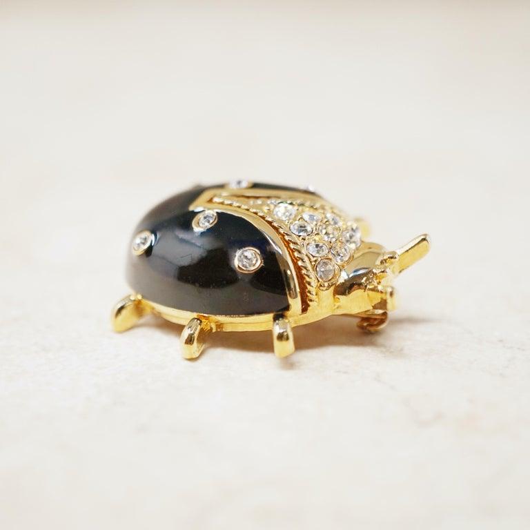 Modern Vintage Gilt & Enamel Ladybug Brooch by St. John, 1980s For Sale
