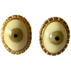 Vintage Gilt Eye Surrealist Statement Earrings
