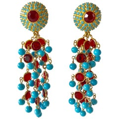 Vintage Gilt Faux Turquoise and Ruby Chandelier Statement Earrings
