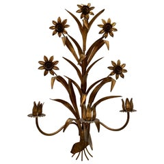 Vintage Gilt Flower 3-Candle Wall Sconce