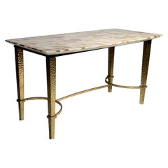 Vintage Gilt / Gilded Hammered Metal Petite Coffee Table with Stone Top